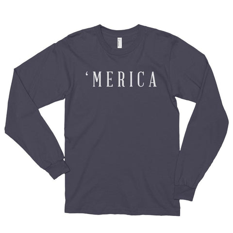 Image of MERICA *MADE IN THE USA* Unisex Long Sleeve T-shirt - Asphalt / S