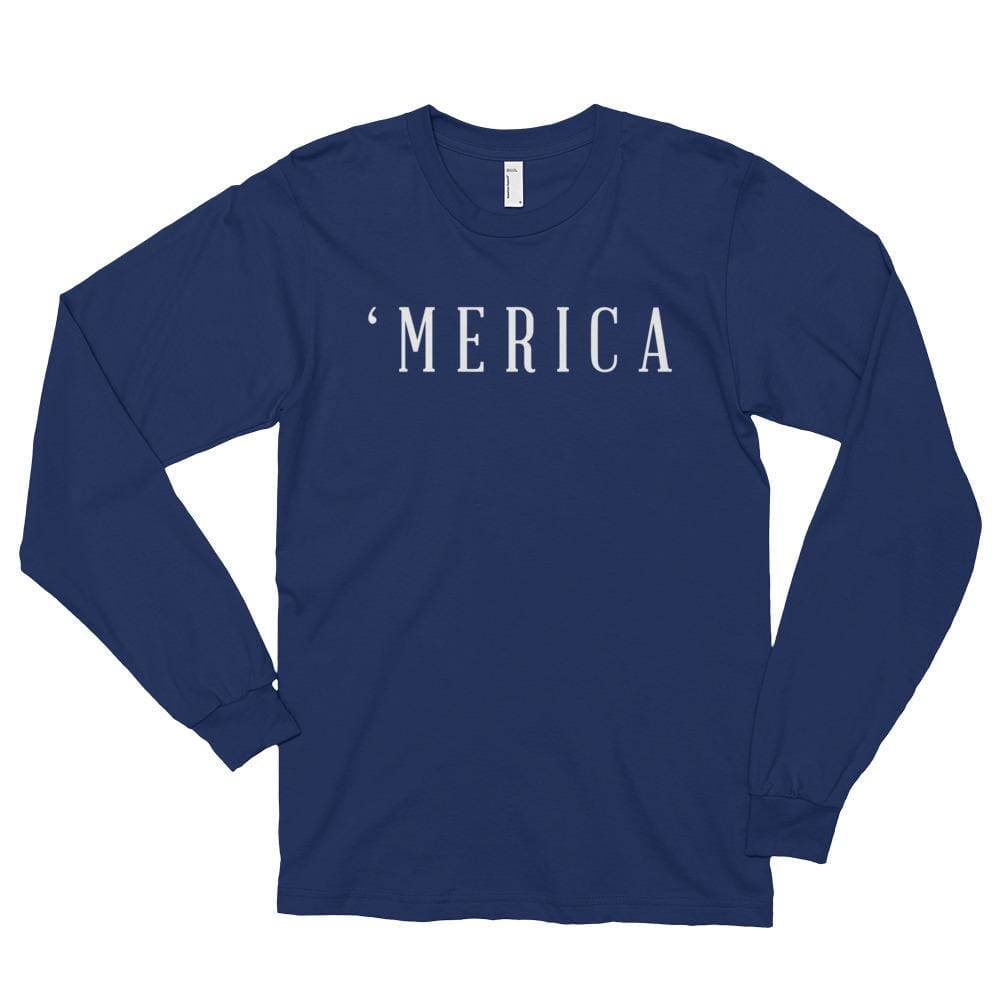 MERICA *MADE IN THE USA* Unisex Long Sleeve T-shirt - Navy / S