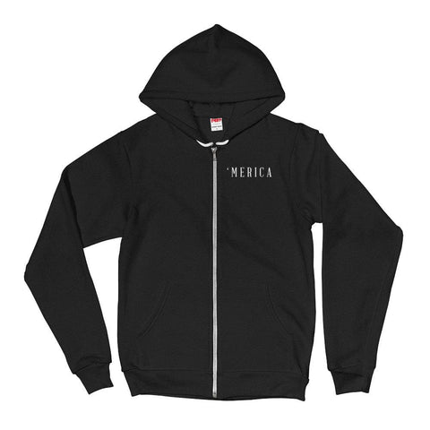 Image of MERICA *MADE IN THE USA* Zip-up Hoodie - Black / XS