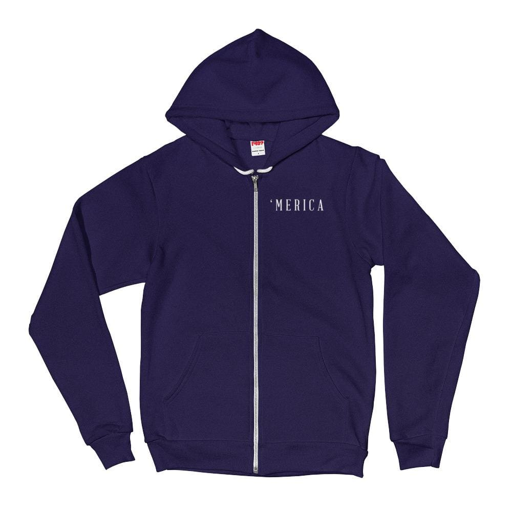MERICA *MADE IN THE USA* Zip-up Hoodie - Navy / XS