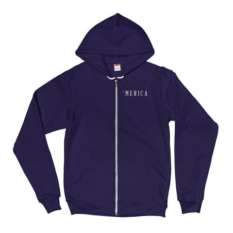 Image of MERICA *MADE IN THE USA* Zip-up Hoodie - Navy / XS