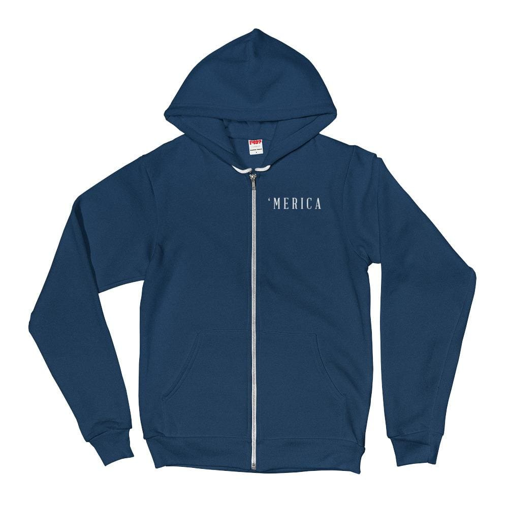 MERICA *MADE IN THE USA* Zip-up Hoodie - Sea Blue / XS