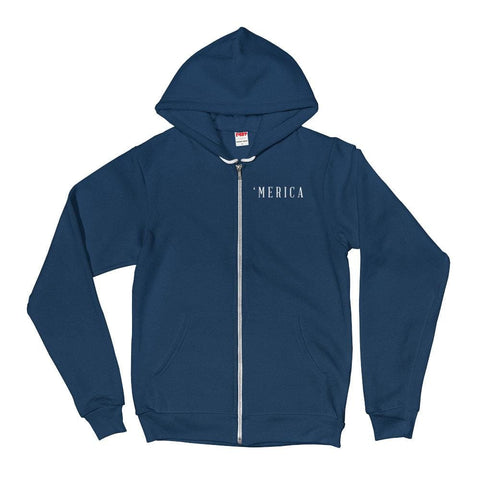 Image of MERICA *MADE IN THE USA* Zip-up Hoodie - Sea Blue / XS