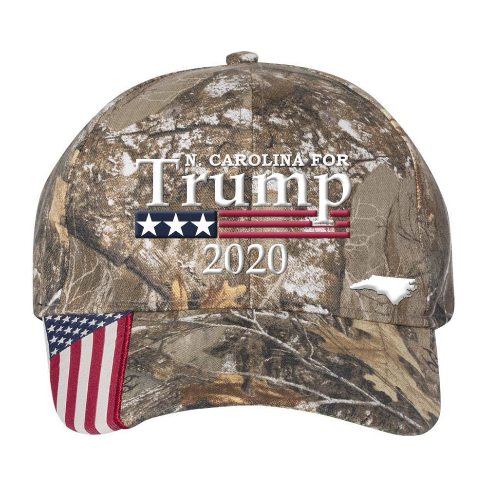 North Carolina For Trump 2020 Hat - Realtree Edge