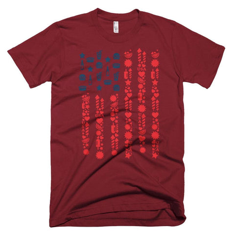 Image of Patriotic Flag *MADE IN THE USA* Unisex T-shirt - Cranberry / XS