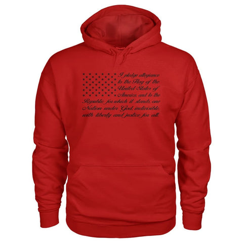 Image of Pledge Of Allegiance Hoodie - Cherry Red / S / Gildan Hoodie - Hoodies