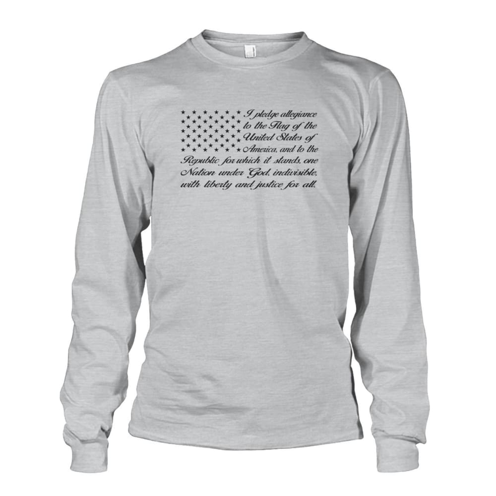 Pledge of Allegiance Long Sleeve - Ash Grey / S / Unisex Long Sleeve - Long Sleeves