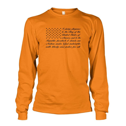 Image of Pledge of Allegiance Long Sleeve - Safety Orange / S / Unisex Long Sleeve - Long Sleeves