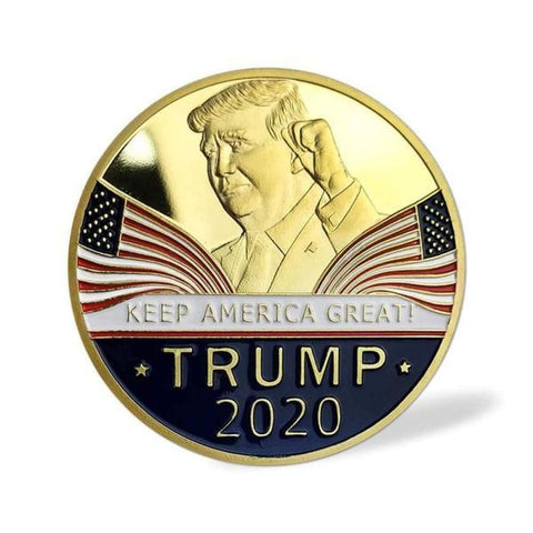 Image of President Trump 2020 Re-Election Coin In Velvet Bag - Trump Coins and Currency
