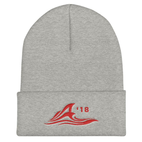 Red Wave Cuffed Beanie - Heather Grey