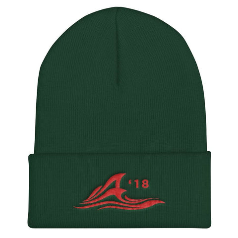 Red Wave Cuffed Beanie - Spruce