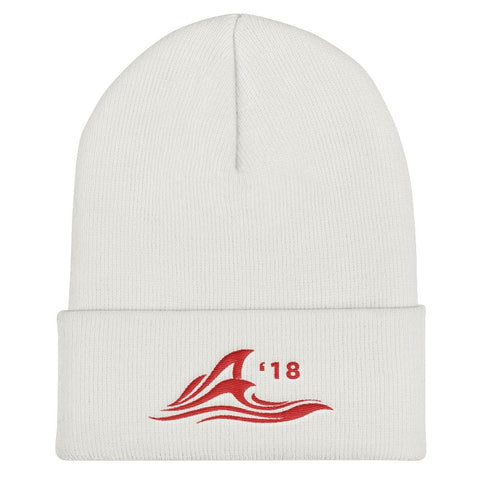 Red Wave Cuffed Beanie - White