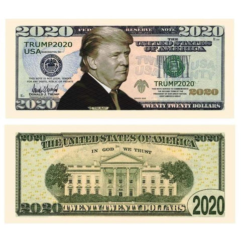 Image of (Set Of 10) Donald Trump 2020 Re-Election Dollar Bills - Bill