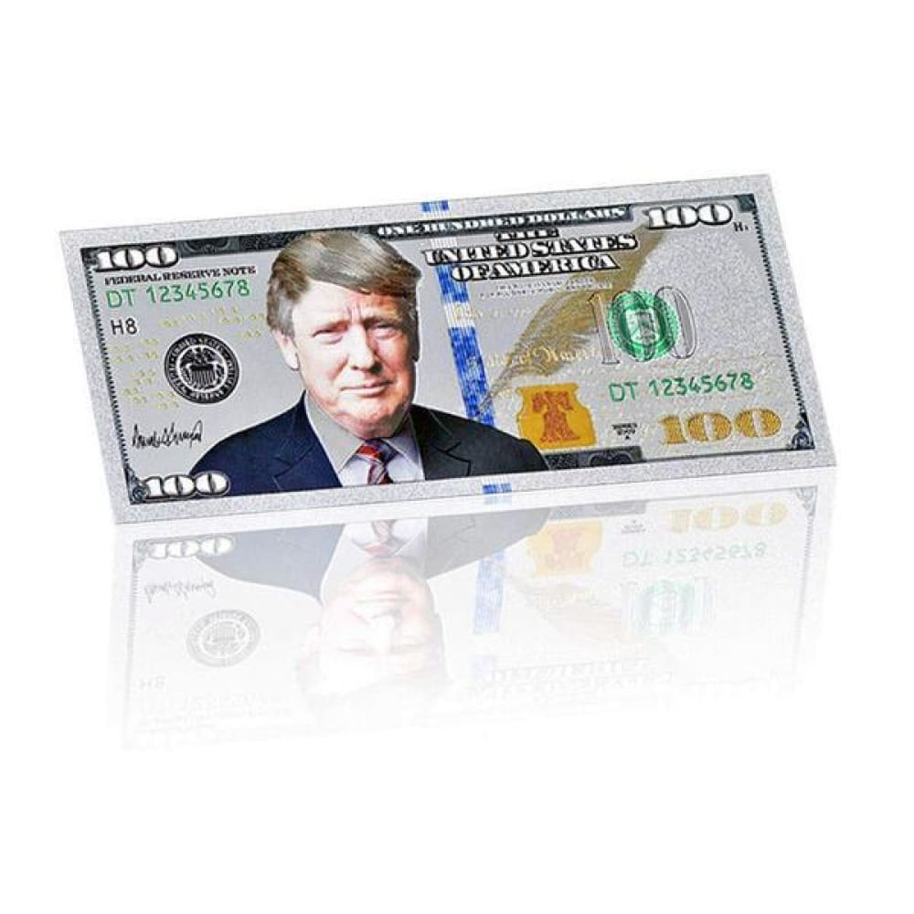 Silver Plated $100 President Donald Trump Commemorative Bank Note In Currency Holder c - Trump Coins and Currency
