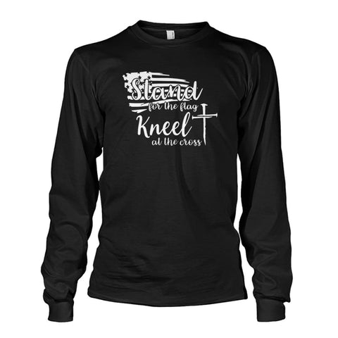 Image of Stand For The Flag Kneel At The Cross Long Sleeve - Black / S / Unisex Long Sleeve - Long Sleeves