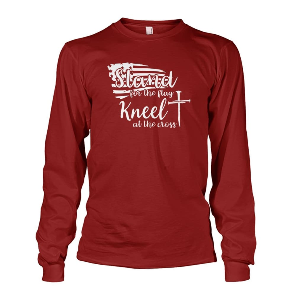Stand For The Flag Kneel At The Cross Long Sleeve - Cardinal Red / S / Unisex Long Sleeve - Long Sleeves