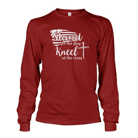 Image of Stand For The Flag Kneel At The Cross Long Sleeve - Cardinal Red / S / Unisex Long Sleeve - Long Sleeves