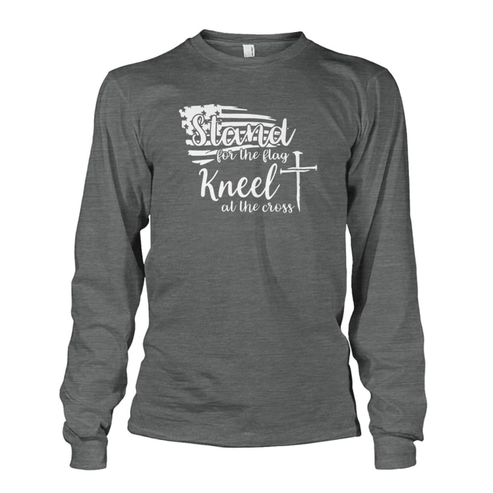 Stand For The Flag Kneel At The Cross Long Sleeve - Dark Heather / S / Unisex Long Sleeve - Long Sleeves
