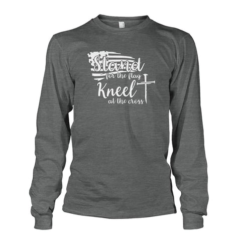 Image of Stand For The Flag Kneel At The Cross Long Sleeve - Dark Heather / S / Unisex Long Sleeve - Long Sleeves