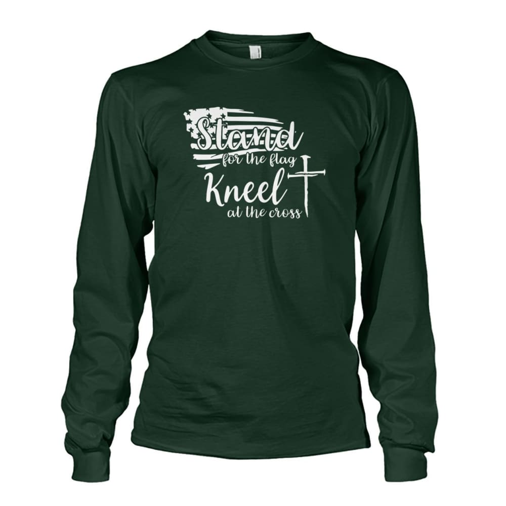Stand For The Flag Kneel At The Cross Long Sleeve - Forest Green / S / Unisex Long Sleeve - Long Sleeves