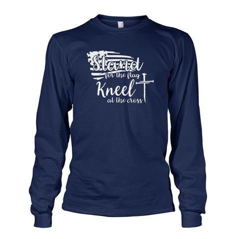 Image of Stand For The Flag Kneel At The Cross Long Sleeve - Navy / S / Unisex Long Sleeve - Long Sleeves