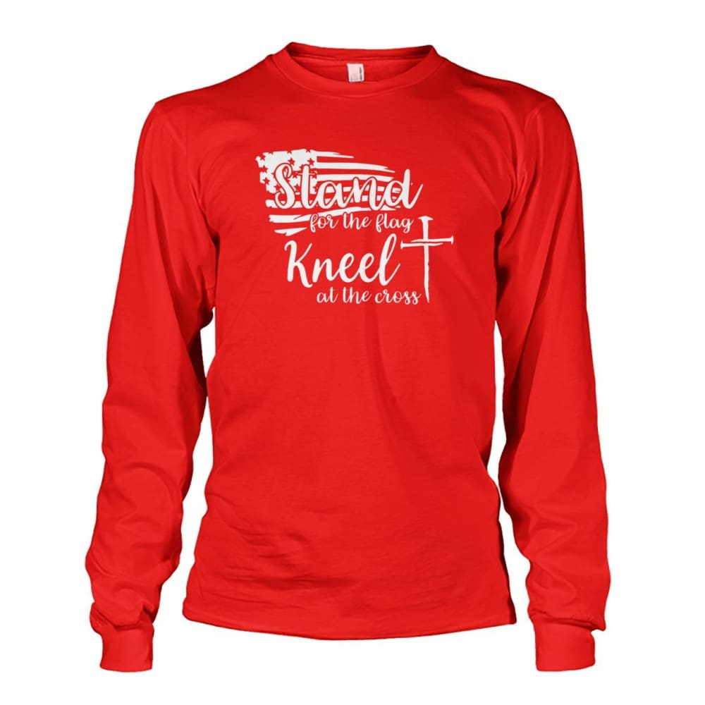Stand For The Flag Kneel At The Cross Long Sleeve - Red / S / Unisex Long Sleeve - Long Sleeves