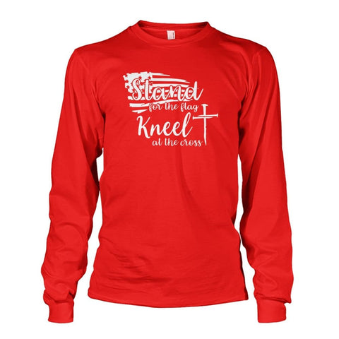 Image of Stand For The Flag Kneel At The Cross Long Sleeve - Red / S / Unisex Long Sleeve - Long Sleeves