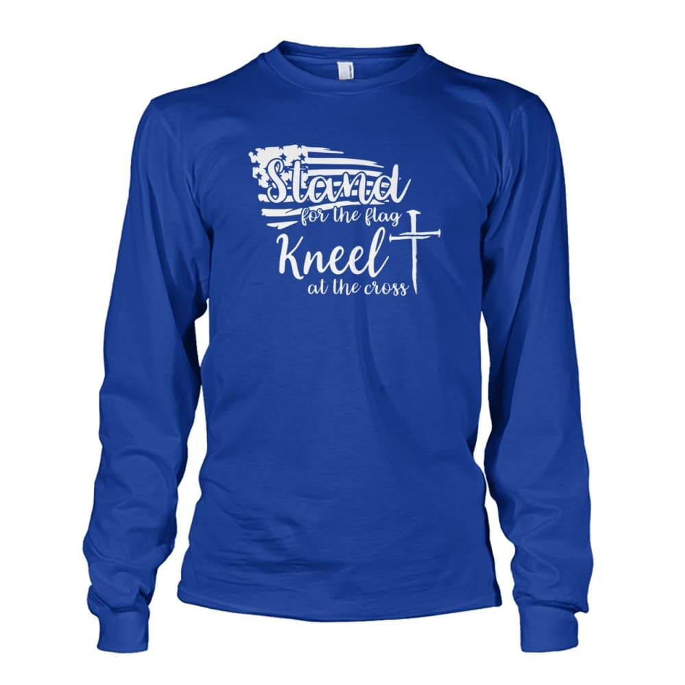 Stand For The Flag Kneel At The Cross Long Sleeve - Royal / S / Unisex Long Sleeve - Long Sleeves
