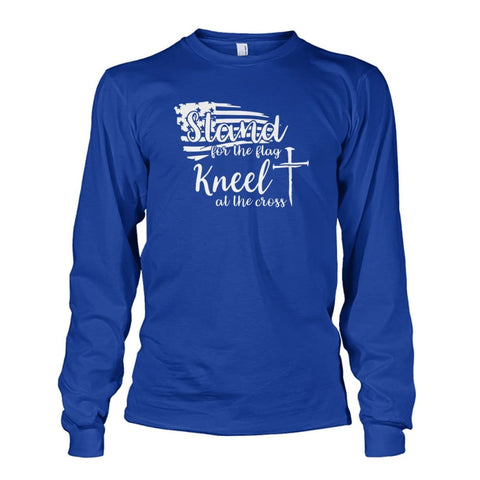 Image of Stand For The Flag Kneel At The Cross Long Sleeve - Royal / S / Unisex Long Sleeve - Long Sleeves