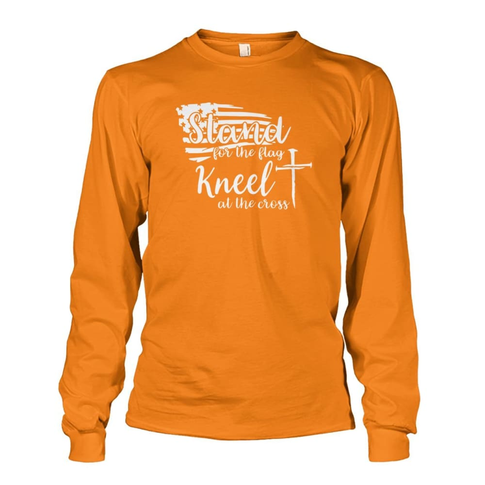 Stand For The Flag Kneel At The Cross Long Sleeve - Safety Orange / S / Unisex Long Sleeve - Long Sleeves