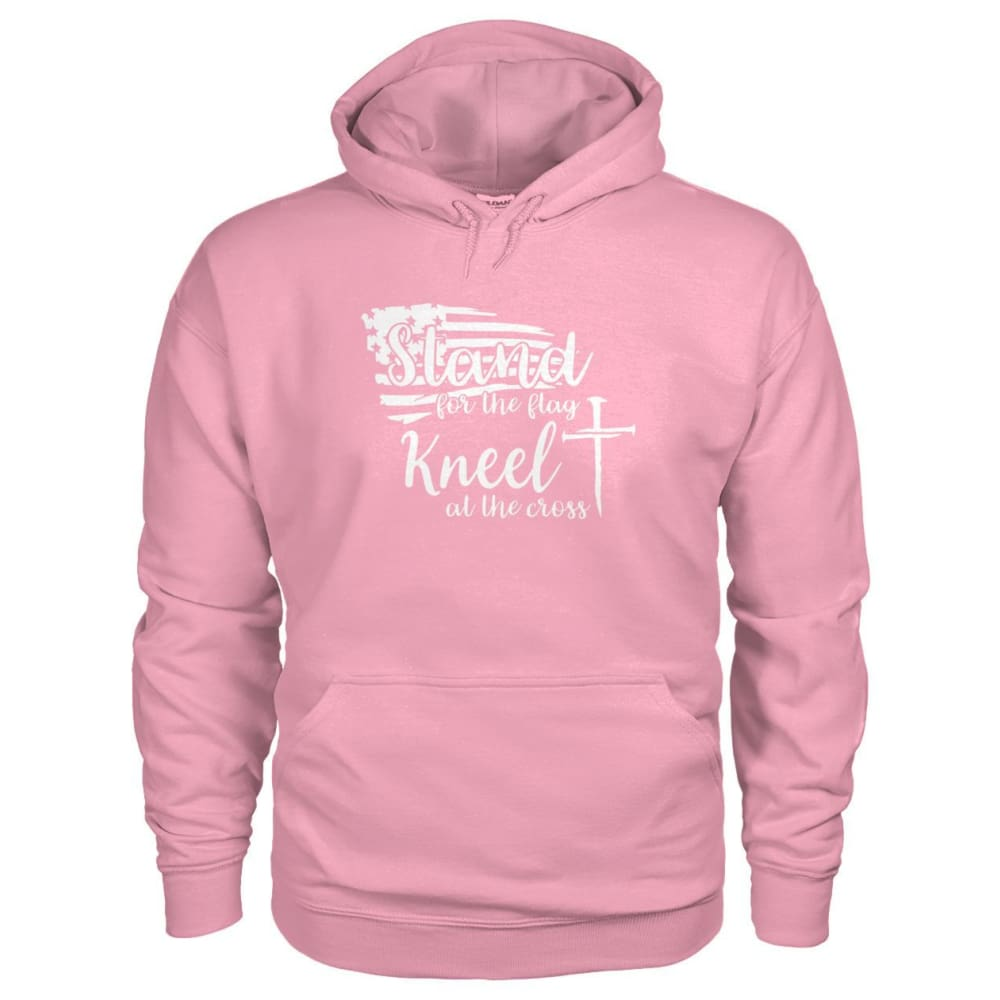 Stand For The Flag. Kneel For The Cross Hoodie - Classic Pink / S / Gildan Hoodie - Hoodies