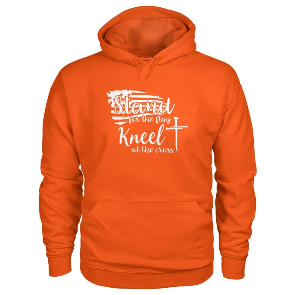 Stand For The Flag. Kneel For The Cross Hoodie - Orange / S / Gildan Hoodie - Hoodies