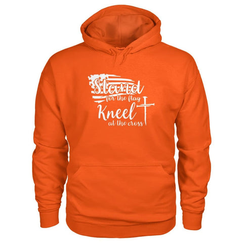 Image of Stand For The Flag. Kneel For The Cross Hoodie - Orange / S / Gildan Hoodie - Hoodies