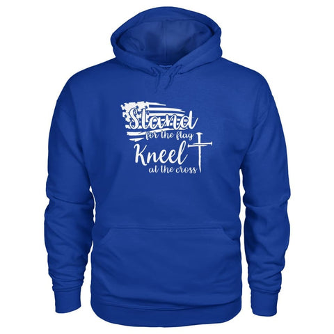 Image of Stand For The Flag. Kneel For The Cross Hoodie - Royal / S / Gildan Hoodie - Hoodies