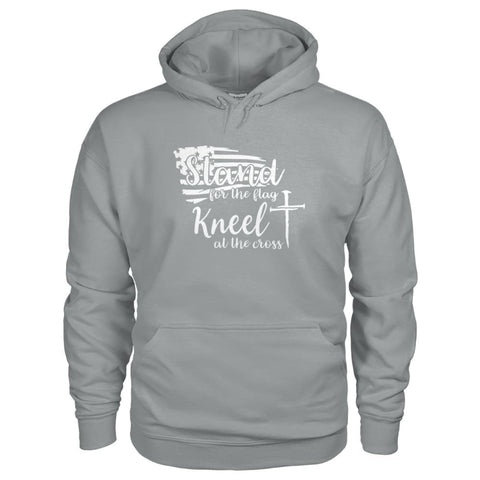 Image of Stand For The Flag. Kneel For The Cross Hoodie - Sport Grey / S / Gildan Hoodie - Hoodies