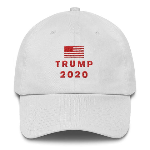 Trump 2020 Flag *MADE IN THE USA* Hat - White