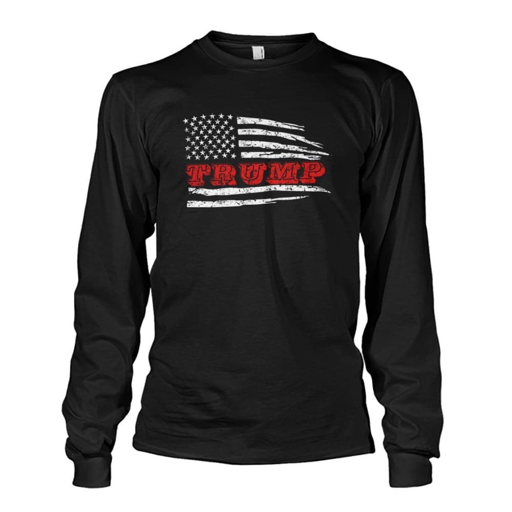 Trump Flag Long Sleeve - Black / S / Unisex Long Sleeve - Long Sleeves
