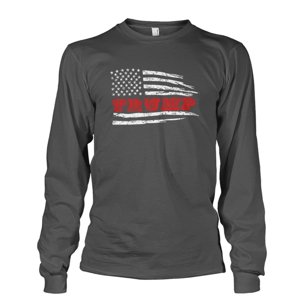 Trump Flag Long Sleeve - Charcoal / S / Unisex Long Sleeve - Long Sleeves