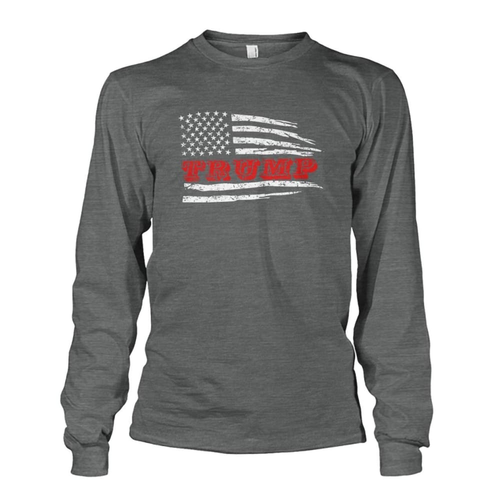 Trump Flag Long Sleeve - Dark Heather / S / Unisex Long Sleeve - Long Sleeves