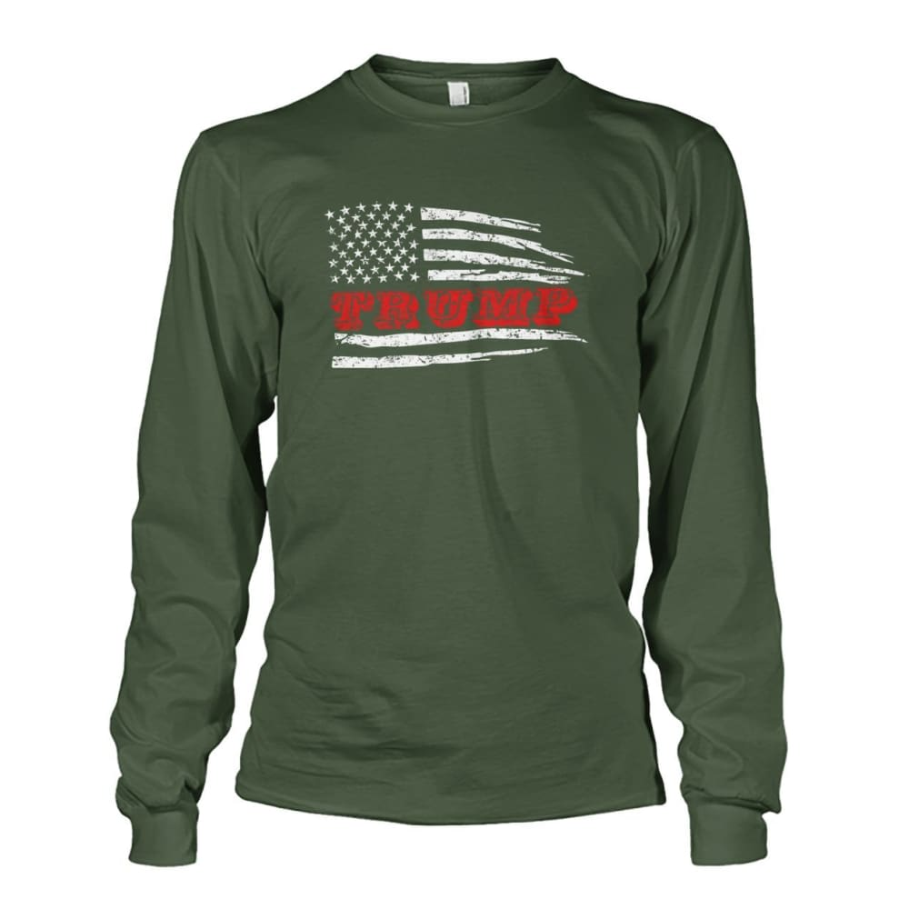 Trump Flag Long Sleeve - Military Green / S / Unisex Long Sleeve - Long Sleeves