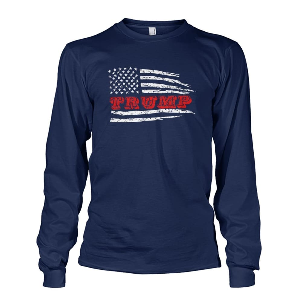 Trump Flag Long Sleeve - Navy / S / Unisex Long Sleeve - Long Sleeves
