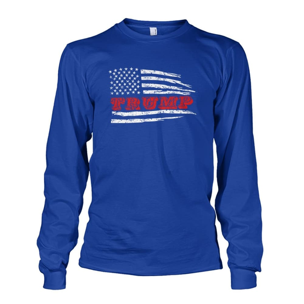 Trump Flag Long Sleeve - Royal / S / Unisex Long Sleeve - Long Sleeves