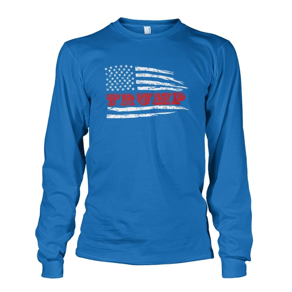 Trump Flag Long Sleeve - Sapphire / S / Unisex Long Sleeve - Long Sleeves