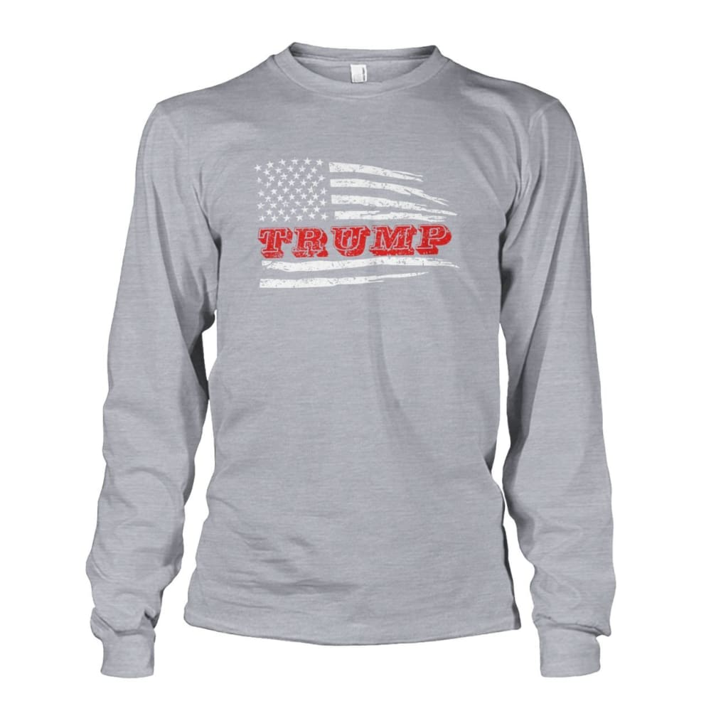 Trump Flag Long Sleeve - Sports Grey / S / Unisex Long Sleeve - Long Sleeves