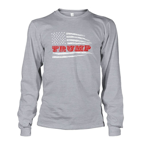 Image of Trump Flag Long Sleeve - Sports Grey / S / Unisex Long Sleeve - Long Sleeves