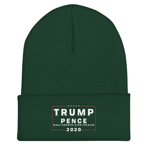 Trump Pence Make America Even Greater 2020 Cuffed Beanie - Spruce