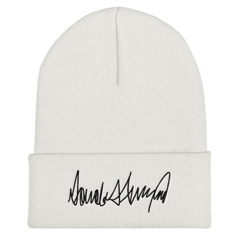 Trump Signature Cuffed Beanie - White