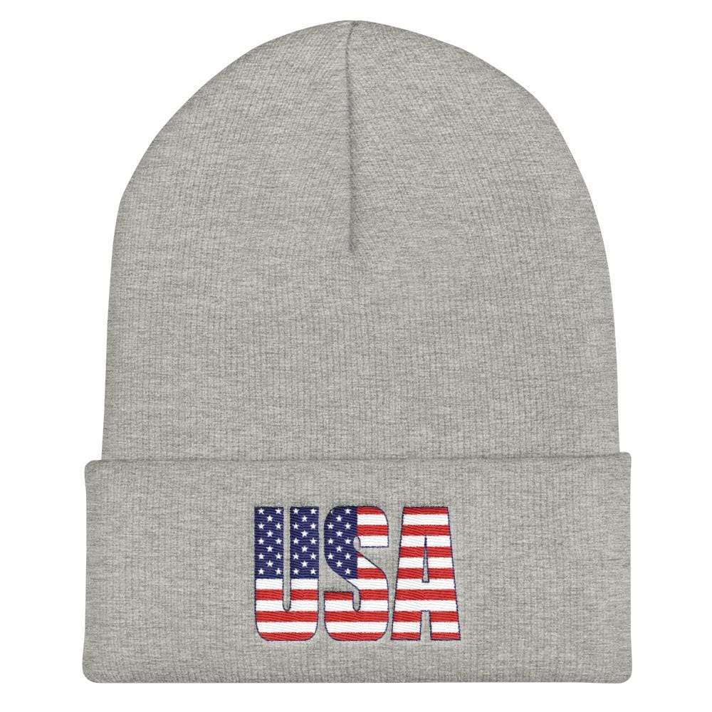 USA Cuffed Beanie - Heather Grey