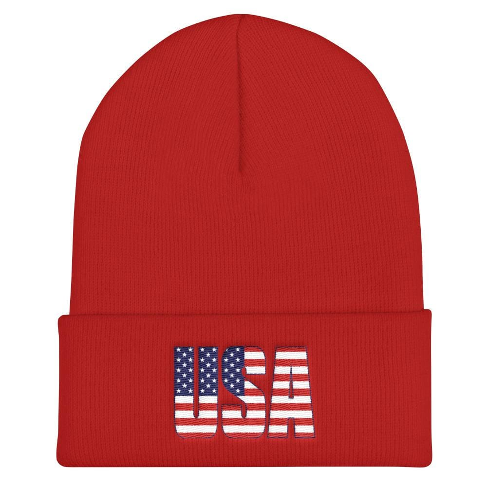 USA Cuffed Beanie - Red