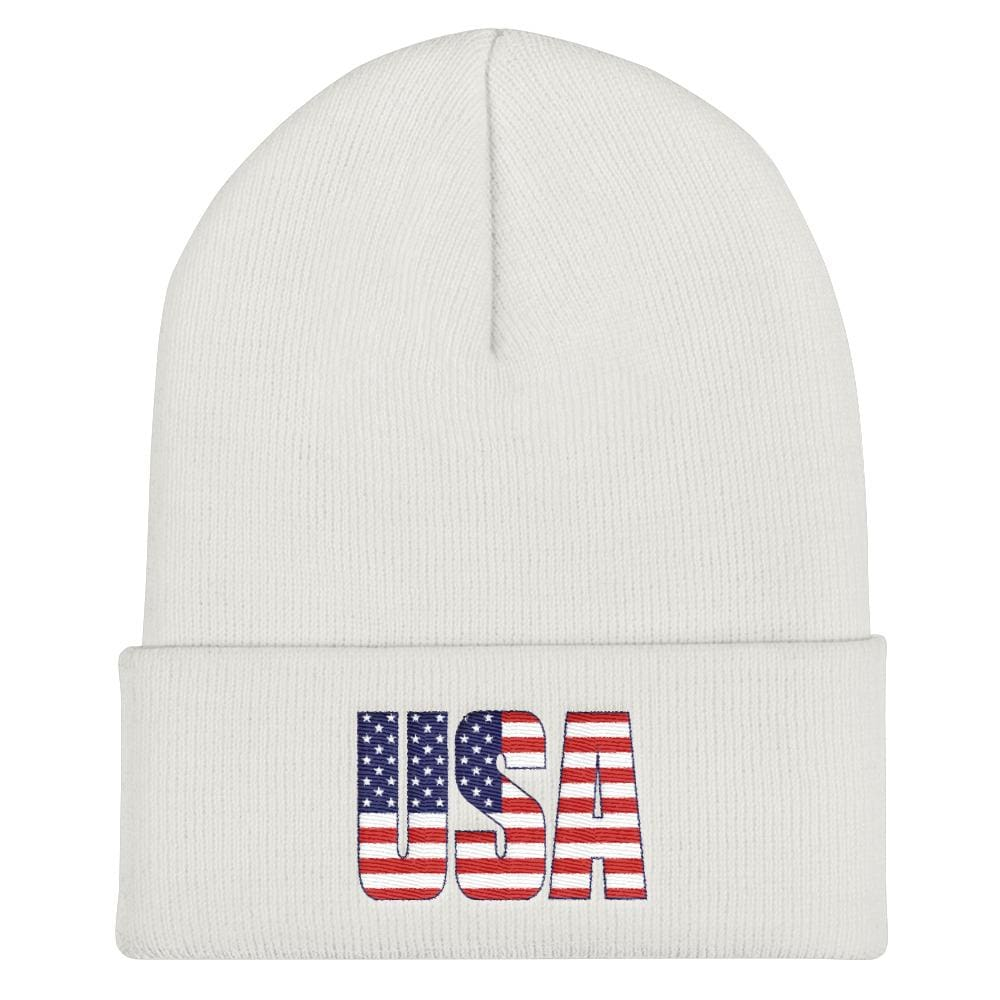 USA Cuffed Beanie - White
